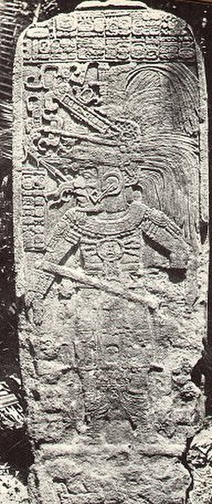 1908 in archaeology - Stela at Seibal, photographed by Teoberto Maler, as published in 1908.