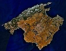 Fotografía satélite de la isla de Mallorca