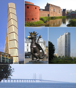 From top left to right: Turning Torso, Malmöhus Castle, Griffin Sculpture, Kronprinsen and the Øresund Bridge.