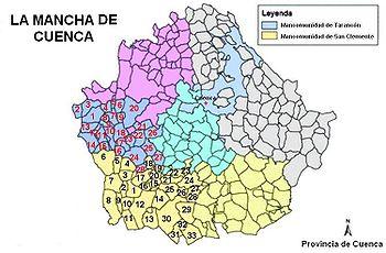 Situación de la Mancha de Cuenca en su provincia homónima