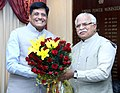 Manohar Lal Khattar meeting the Minister of State for Power, Coal, New and Renewable Energy and Mines (Independent Charge), Shri Piyush Goyal, on the issues related to Haryana Power, Coal, MNRE & Mines, in New Delhi.jpg