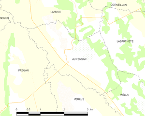 Aurensan, Gers - Aurensan and its surrounding communes