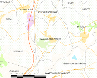 Banyuls-dels-Aspres - Map of Banyuls-dels-Aspres and its surrounding communes