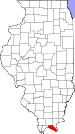 Map of Illinois highlighting Massac County.svg