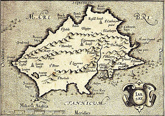 History of Jersey - This map of Jersey, published in 1639, shows interior details such as Le Mont ès Pendus (the gallows hill, now called Westmount). At first sight, the coastline appears wildly inaccurate, but if the image is rotated a little clockwise, the shape becomes much closer to what is known today.