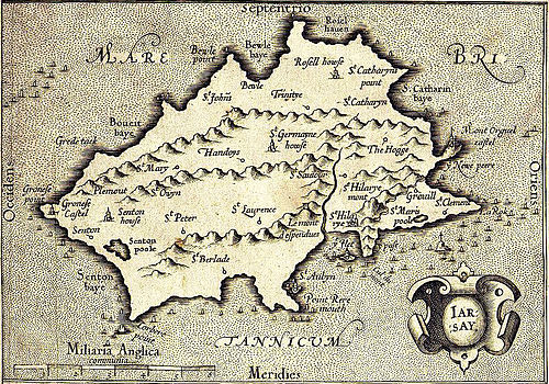 This map of Jersey, published in 1639, shows interior details such as Le Mont es Pendus (the gallows hill, now called Westmount). At first sight, the coastline appears wildly inaccurate, but if the image is rotated a little clockwise, the shape becomes much closer to what is known today. Map of Jersey by G Mercator 1639..JPG