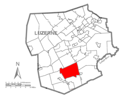 Map of Luzerne County highlighting Butler Township