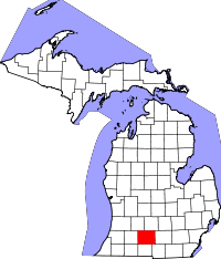 Map of Michigan highlighting Calhoun County