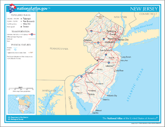 Map of New Jersey showing major transportation networks and cities Map of New Jersey NA.png