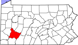 Map of Pennsylvania highlighting Westmoreland County.svg