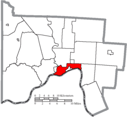 Location of Portsmouth in Scioto County