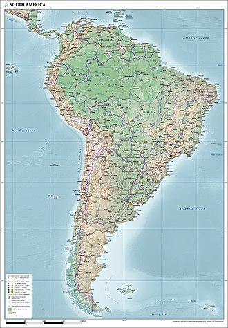 Map of South America showing physical, political and population characteristics, as per 2018 Map of South America (physical, political, population) with legend.jpg