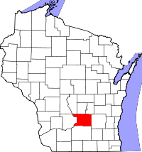 Map of Wisconsin highlighting Columbia County