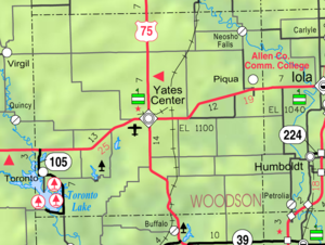 Piqua, Kansas - Image: Map of Woodson Co, Ks, USA