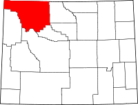 Map of Wyoming highlighting Park County