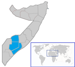 Location of the South West State within Somalia