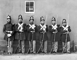 svart-vitt fotografi av sex uppradade marinkårssoldater, fem med gevär från det amerikanska inbördeskrigets tid och en med ett underofficerssvärd (black & white photograph of six Marines staning in line, five with Civil-War era rifles and one with an NCO sword)