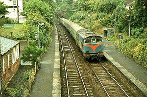 Marino railway station - A NIR 101 Class diesel locomotive hauls a passenger train into Marino station in 1983