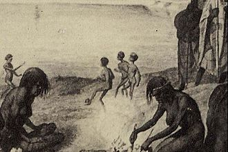Detail of an 1857 etching that shows Aboriginal boys kicking and catching a ball made from plant roots. Marn grook football.jpg