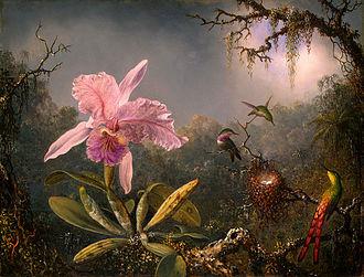 Martin Johnson Heade - Cattleya Orchid and Three Hummingbirds, 1871