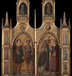 Master of Pratovecchio - Left and right side-panels of the Pratovecchio altarpiece, depicting St Michael and John the Baptist, a bishop saint and a female martyr.  Italian ca. 1450, National Gallery, London