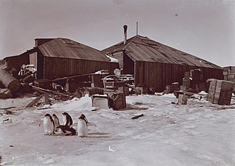 Mawson's Huts - View of Mawson's Huts during the Australasian Antarctic Expedition in 1911.