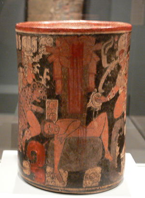 Sacrifice in Maya culture - Human sacrificial victim on a Maya vessel, 600–850 AD (Dallas Museum of Art)