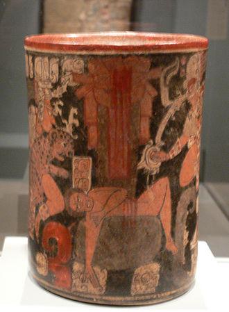 Sacrifice in Maya culture - Human sacrificial victim on a Maya vessel, 600–850 AD (Dallas Museum of Art)