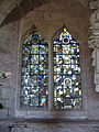 Medieval stained glass, St Cuthbert's, Holme Lacy.jpg