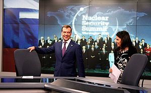 Media of Russia - Former Russian President Dmitry Medvedev in the Washington studio of Russia Today TV with Margarita Simonyan