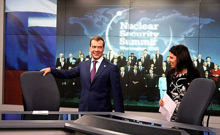 Dmitry Medvedev in the Washington studio of Russia Today TV with Margarita Simonyan Medvedev - Russia Today 3.jpg
