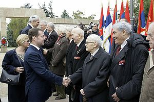 Russia–Serbia relations - Boris Tadić and Dmitry Medvedev with war veterans during the celebrations for the 65th anniversary of the Belgrade Offensive in October 2009