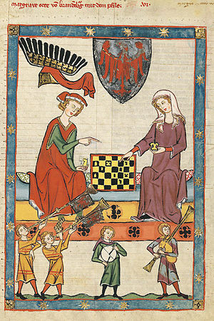 A medieval painting of a chess game played by nobles.