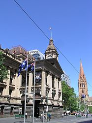 Il Melbourne City Town Hall (municipio) in Swanston Street, costruito tra il 1870 e il 1887