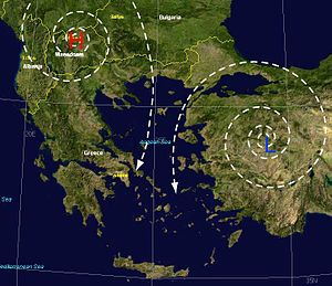 Etesian - Etesians (meltemia) occur when high pressure (H) forms over the Balkans and low pressure (L) forms over Turkey.