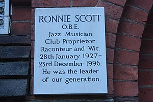 Ronnie Scott - Memorial to Ronnie Scott, Golders Green Crematorium