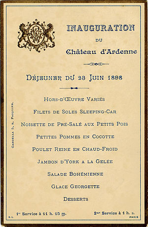 Château royal d'Ardenne - Menu served on board the French presidential train on June 13th, 1898 on a journey to Belgium for the opening of the Ardenne Castle