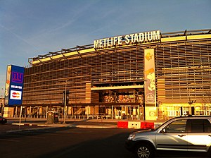 MetLife Stadium - The exterior of MetLife Stadium, configured for a Giants game
