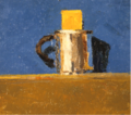 Metal cup with yellow paper against blue background by Christopher Willard.png