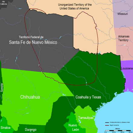 Comancheria in the 19th century Mexico 1832, Region Comanche.PNG