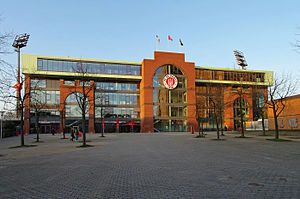 FC St. Pauli - The new South Tribune of the Millerntor-Stadion, seen from Budapester Straße.