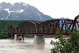 Miles Glacier Bridge - Miles Glacier Bridge in 2008. The far left span as seen in this photo shows the repairs performed in 2004.