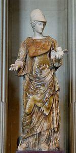 Statua della dea Minerva con la civetta