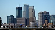 The tallest buildings are in Minneapolis, left to right, the IDS Center, 225 South Sixth and the Wells Fargo Center.