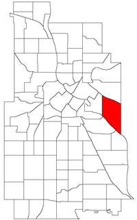 Location of Prospect Park neighborhood within the U.S. city of Minneapolis
