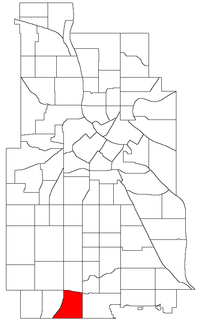 Location of Windom within the U.S. city of Minneapolis