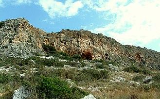 Misliya cave - Image: Misliya cave in Megadim Cliff, Mount Carmel