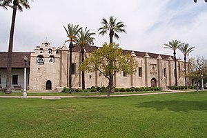 Architecture of the California missions - The chapel at Mission San Gabriel Arcángel was designed by Father Antonio Cruzado who hailed from Córdoba, Spain which accounts for the Mission's strong Moorish influence.