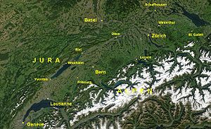 Swiss Plateau - Satellite image of the Swiss Plateau between the Jura and the Alps