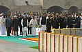 Mohd. Hamid Ansari, the Prime Minister, Dr. Manmohan Singh, the Defence Minister, Shri A. K. Antony and other dignitaries paid tributes at the Samadhi of Mahatma Gandhi on the occasion of Martyr's Day at Rajghat, in Delhi.jpg